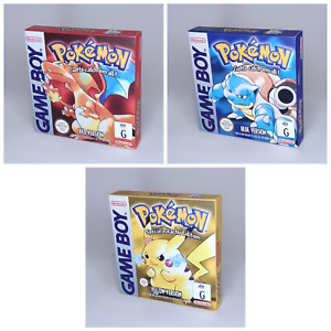 Pokemon Red   Blue   Yellow Reproduction Replacement 3 Box Game Boy AUS Version