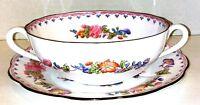 Spode Vintage Soup Bowl Set, Bowl and Plate, Bone China, Vielle France, Spode