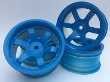 Rc Car 1/10 Drift 5 Spoke 37R Rims Wheels 6mm Offset fits Tamiya HPI HSP BLUE x4