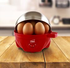Stainless Steel Red Electric Egg Cooker Boiler Poacher & Steamer Fits 7 Eggs