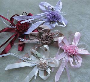 15pcs Big Ribbon Flower Bows Bead wedding Appliques Craft Lots A579