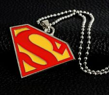 "Superman Bigger Pendant Necklace on 19"" Chain Super Man S Logo Silver Colour Big"