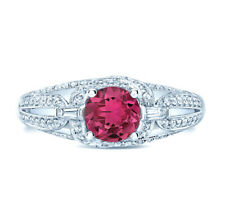 Pink Tourmaline Diamond Ring 14k White Gold Womens Statement Link Band 0.84 TCW