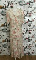 *Vintage 80s* Pink Lace Collar Floral Tea Dress Size 14 16 Victorian Edwardian
