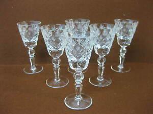 Set of 6 Vintage Crystal Sherry Glasses ~ Cut Glass ~ Cordial / Liqueur Glasses