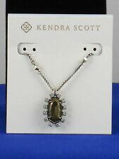 "Kendra Scott Womens Brett Necklace 28"" Antique Silver/brown Pyrite"