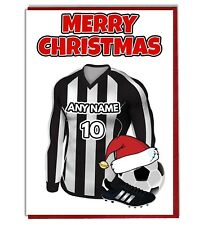 Personalised Football Themed Christmas Card - Black & White Stripes Shirt