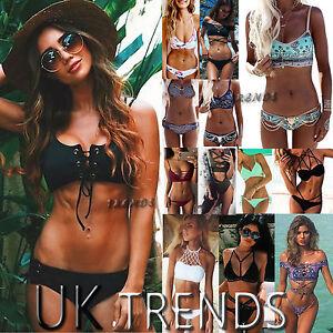 UK Summer Womens Padded Beach Swimwear Triangle Bra Bikini Set Bathing Swimsuit