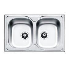 """Lavello cucina Inox da Incasso Atmosfera 86x50 cm 2 vasche con Pilette da 3,5"""""""