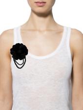 Bead Flower Pin / Brooch, Nwot J. Mendel White Leather, Fur, and Crystal