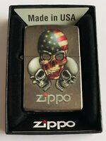 Zippo Bradford Three Skulls Lighter New In Box MAD in USA