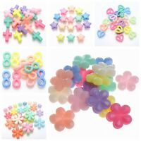 100 Mixed Pastel Color Acrylic Beads Charm Various Shape Flower Cross Kids Craft