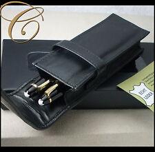 Caja para 2 plumas / lápices * negro | Cuero Napa * bolsa de cuero de la pluma