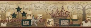 Wallpaper Border Americana Country Caring Candles and Stars Dark Red Edge