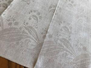 "10 Vintage 20"" White Linen Damask Napkins - Lily of the Valley Floral Design"