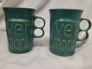 Two Vintage Bennington Potters Vermont 1340 Teal Blue Trigger Handle Coffee Mugs