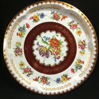 """Vintage Daher Decorated Ware Round Tin Metal Serving Tray Gold Floral 12.5"""""""