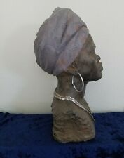 African American Lady Bust Head Ethnic Decor Statue Sculpture LARGE