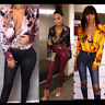 Women Floral Long Sleeve Bodysuit Silk Shirt Blouse Multi Way Tie Wrap Top V Nec