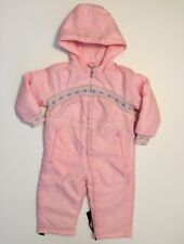 Vintage Girls Quilted Snowsuit Snow Bibs Pink Hearts Retro Ski Size 2 Warm 80 90