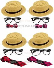 ST TRINIANS SCHOOL GIRL NERD GLASSES BOW TARTAN TIE STRAW BOATER HAT FANCY KIT