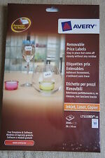 Avery L7115REV-20 Removable Price Labels 26x16mm White 20 Sheets/pack 2040Labels