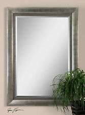"""LARGE 86"""" TALL AGED SILVER LEAF WOOD RECTANGULAR BEVELED WALL OR FLOOR MIRROR"""