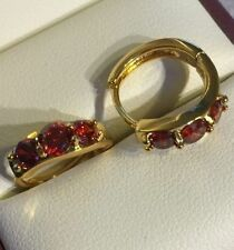 Gold Filled Round Cubic Zirconia Hoop Costume Earrings