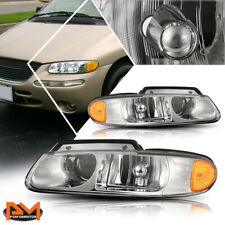 For 96-99 Caravan/Town&Country Projector Quad Lamps Headlight Amber Side Chrome