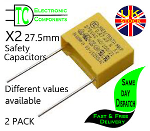 X2 Safety Capacitors 27.5mm Pitch (Different values available) 2 PACK *UK Stock*