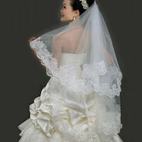 Elegent Short Lace Edge White Wedding Bride Bridal Veil Mantilla Wedding 1.5M US