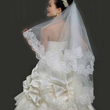 Elegent Short Lace Edge White Wedding Bride Veil Mantilla Bridal Accessorie 1.5M