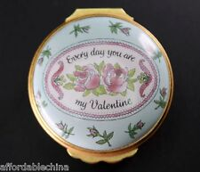 "Halcyon Days Enamel ""Everyday You Are My Valentine"" Round Box - 1988"
