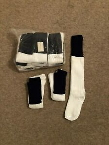 Pack Of 15 PAIRS, Kids, 1-5, white with navy blue turnover FOOTBALL Socks.