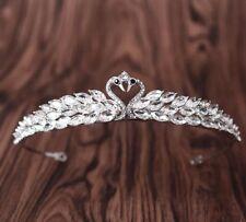 Cristal Claro Tiara Boda Nupcial Diamante Corona Diadema Peluca Gemelos Cisne