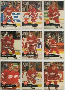 DETROIT RED WINGS ~ 1991-92 Pro Set FRENCH Series 1 TEAM SET ~ 16 Cards ~ HOWE
