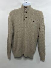 Polo Ralph Lauren Beige 1/4 Zip Sweater With Pony Mens Medium. K02