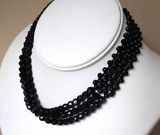 Triple Strand Twisted Black Glass Choker Necklace Faceted Beads Adjusts 1950 Vtg