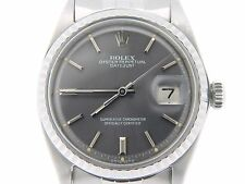 Rolex Datejust Mens Stainless Steel Watch Jubilee Band RARE Slate Gray Dial 1603