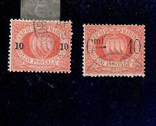 san marino 1892 10 cent su 20 sassone 10-11 usati  COD FRA.742