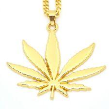 "18k Gold Marijuana Weed Pot Pendant 30"" Cuban Link Chain Necklace Cannabis Leaf"