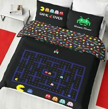 Retro Games DOUBLE Panel Duvet Cover Bedding Set Space Invaders Pacman New Gift