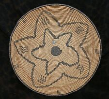 "Large Antique Apache Star Design Bowl or Tray Indian Basket 14""d  x 3 1/2"" deep"