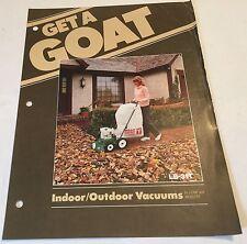 BILLY GOAT LB-12E Indoor/Outdoor Vacuum Original 1970s Vintage Sales Brochure