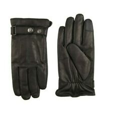 DOCKERS MEN'S LEATHER FLEECE-LINED INTELITOUCH GLOVES LARGE (GLD4)