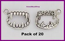 20 Antico colore argento 17 x 12 mm Dracula Vampiro Denti Zanne Gotico 3D Charms