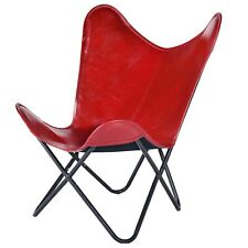 Red Wine Color Genuine Leather Butterfly Chair, Knock Down Chair Magus Designs