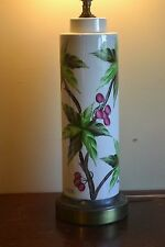 Tyndale Vintage White HAND PAINTED Ceramic Lamp with leaves and Cherries Berries
