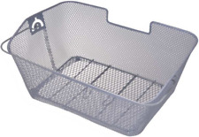 Bike Basket Bicycle Basket Deluxe Metal Pannier Rack with Carrying Handle Silver