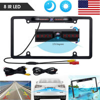 170° Car Rear View Backup Camera 8 IR Night Vision US License Plate Frame CMOS